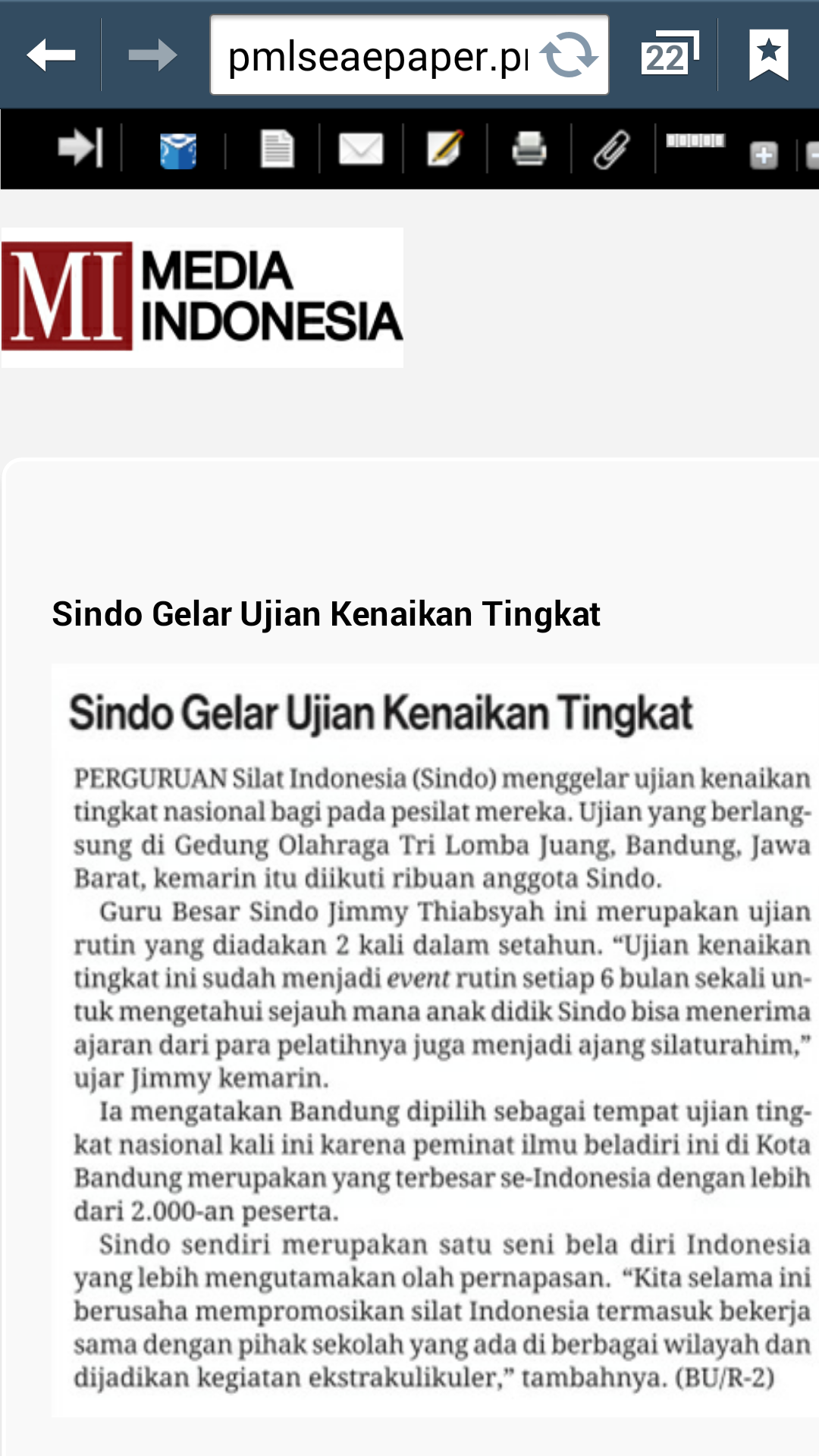 SINDO in Media Indonesia newspaper